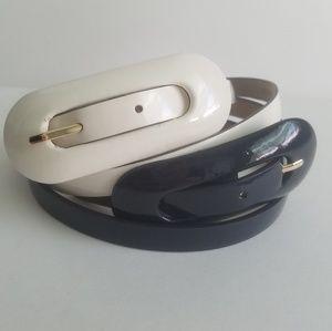 Ann Taylor bundle of 2 patent belts 1 navy 1 ivory